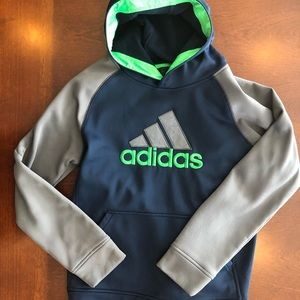 Boys youth Large Adidas Hoodie blue/gray/green